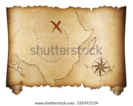 Pirates' old treasure map roll isolated - stock photo