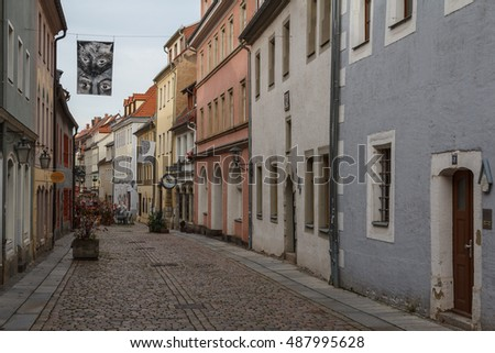PIRNA / GERMANY - OCTOBER 2013: Street in the old part of Pirna town, Saxony, Germany