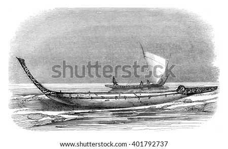 Pirogue of New Zealand, vintage engraved illustration. Magasin Pittoresque 1847.
