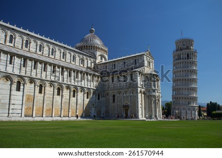 PISA - AUG 29: The Leaning Tower is the third oldest building on Pisa's Piazza del Duomo (cathedral square), the Cathedral and Baptistry were first. August 29, 2014 in Pisa.  - stock photo