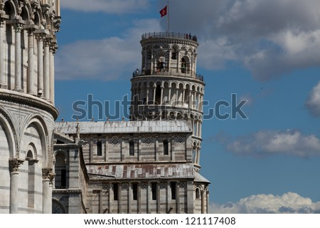 Pisa - Baptistry, Leaning Tower and Duomo in the Piazza dei Miracoli - stock photo