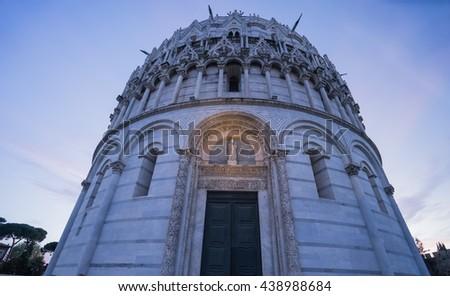 Pisa Cathedral celebrated acoustic and Gothic sculptures with Twilight time, Pisa of Tuscany , Italy. - stock photo
