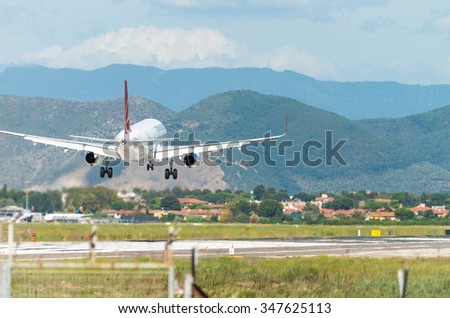 PISA, ITALY - AUG 25: Turkish Airlines plane lands in Pisa airport, August 25, 2015. Turkish Airlines is one of the best companies in Europe.