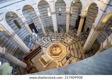 PISA, ITALY - AUGUST 11, 2013: Battistero Pisa interior view, Piazza del Duomo, Italy - stock photo