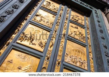 Pisa, Italy - August 11, 2013: Detail of the Gate of Paradise - Baptistery of San Giovanni, Florence Italy - stock photo
