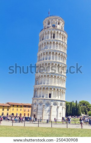 PISA, ITALY, August 14, 2011: The famous Leaning Tower of Pisa in Italy