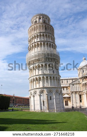 Pisa, Italy. Famous Old Town in Tuscany. Leaning Tower and Cathedral.
