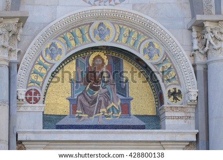 PISA, ITALY - JUNE 06, 2015: A colourful mosaic by Giuseppe Modena da Lucca, of the John the Baptist, lunette above right door of Cathedral in Pisa, Italy. Unesco World Heritage Site, on June 06, 2015 - stock photo