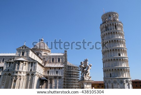 PISA, ITALY - JUNE 06, 2015: Cathedral St. Mary of the Assumption in the Piazza dei Miracoli in Pisa, Italy. Unesco World Heritage Site, on June 06, 2015 - stock photo