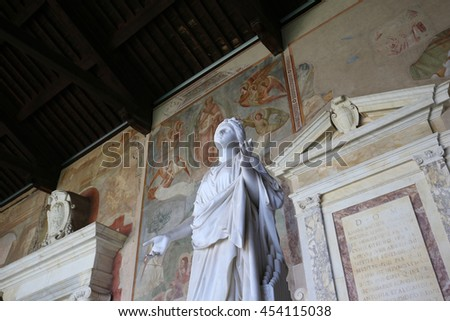 PISA, ITALY, JUNE 06, 2016 : interiors and architectural details of the Camposanto, june 06, 2016 in Pisa, Italy