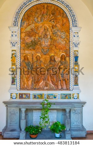 PISA, ITALY, MARCH 14, 2016: View of an altar situated inside of the Camposanto Cemetery in the italian city Pisa