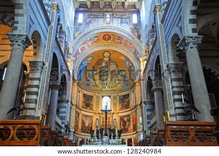 PISA, ITALY-MAY 5: Saint Mary of the Assumption cathedral interior built in 1064. Up to 4, 5 million tourists a year visit this UNESCO World Heritage site. May 5, 2012 in Pisa, Italy
