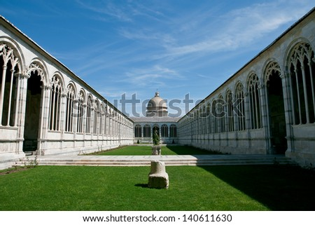 Pisa, Italy. Piazza del Duomo. The monumental cemetery internal courtyard - stock photo