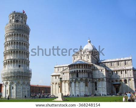 Pisa, Italy - September 29, 2008: Piazza del Duomo with famous landmarks of Pisa