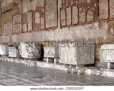 Pisa, Italy - September 5, 2011: Pisa Camposanto - Cemetery was constructed in 1278 to house the sacred dirt brought back from Golgotha during the Crusades. the burial place of the Pisan upper class