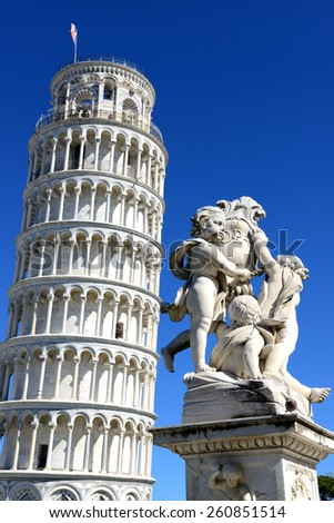 Pisa, Leaning Tower and sculpture, Tuscany, Italy - stock photo