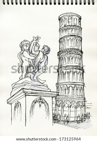 Pisa Leaning Tower, Italy freehand drawing illustration on sketch book