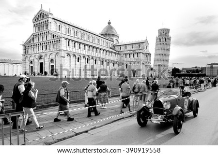 PISA (PI), ITALY - SEPTEMBER 19: A Bugatti Type 40 takes part to the GP Nuvolari classic car race on September 19, 2015 in Pisa (PI). The car was built in 1929. - stock photo