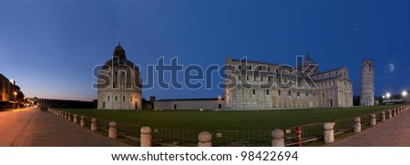Pisa, Piazza dei miracoli, with the Basilica and the leaning tower. - stock photo
