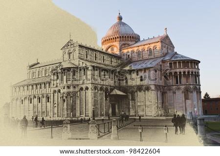 Pisa, Piazza dei miracoli, with the Basilica.technique, ancient slab. - stock photo