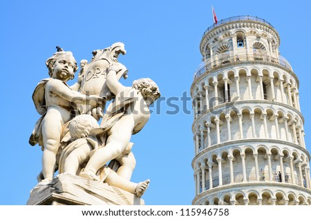 Pisa, Piazza dei miracoli, with the leaning tower. - stock photo