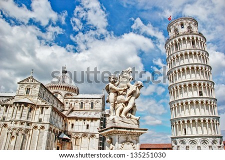Pisa, place of miracles the leaning tower and the cathedral baptistery, Italy - stock photo