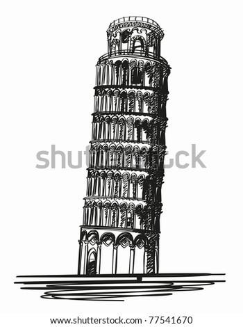 Pisa tower sign. clipping path