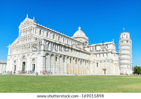 Pisa Tower view from miracle square. Pisa, Italy. - stock photo
