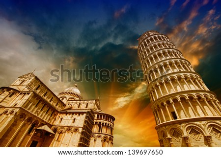 Pisa, Tuscany. Wonderful wide angle view of Miracles Square. - stock photo