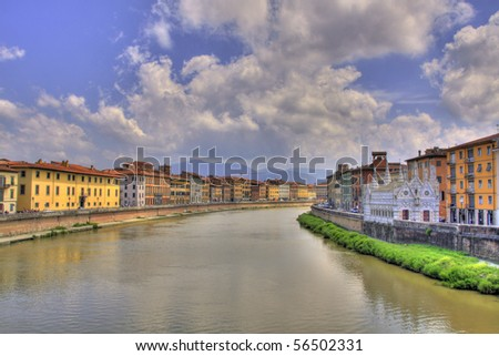 Pisa urban landscape and Arno river (HDR photo)