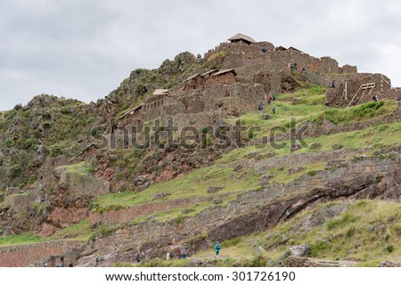 Pisaq archaeological site at Scared Valley, Cusco, Peru - stock photo