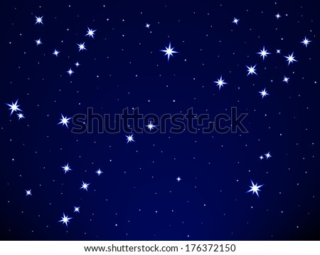 Pisces constellation on the starry sky - stock photo