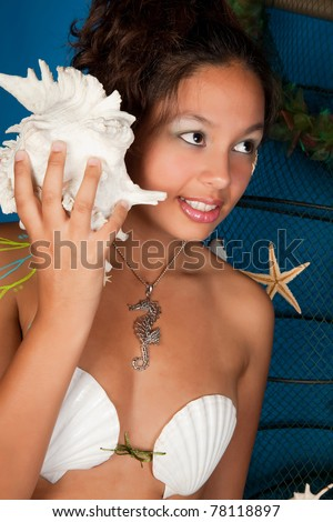 Pisces or Fish woman, this photo is part of a series of twelve Zodiac signs of astrology - stock photo