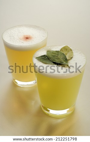 Pisco sour, famous Peruvian cocktail - stock photo