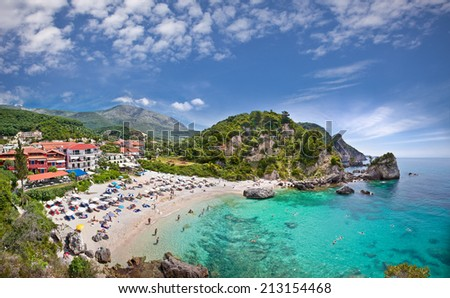 Piso Kryoneri beach in Parga town of Syvota area, Greece. - stock photo
