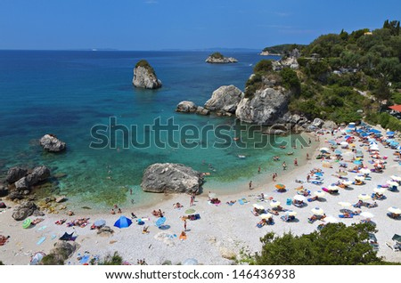 Piso Kryoneri beach near Parga town of Syvota area in Greece. - stock photo