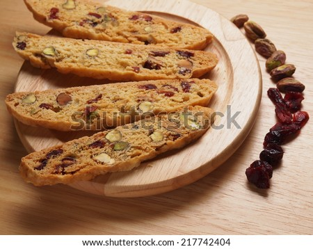 Pistachio and Cranberry Biscotti, homemade bakery - stock photo