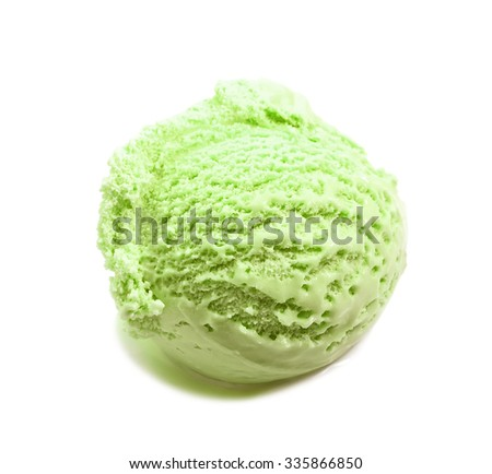pistachio ice cream scoop close-up isolated on white background  - stock photo
