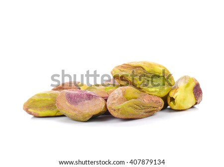 Pistachio nuts isolated on white background. - stock photo