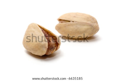 pistachio nuts on a white