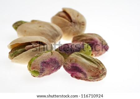 pistachio on the white background - stock photo