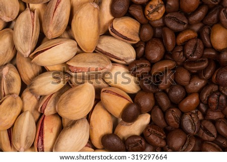 pistachios and coffee beans