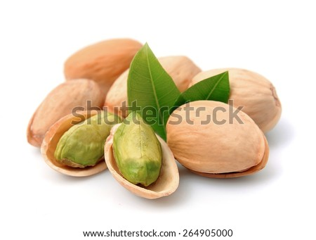 Pistachios nuts on a white background - stock photo