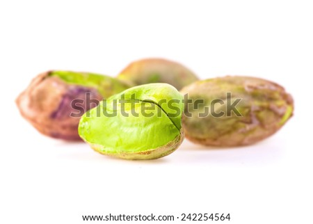 Pistachios on white background - isolated - stock photo