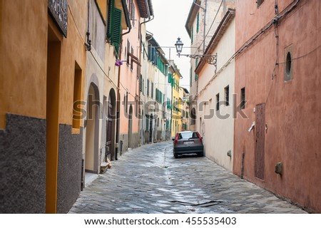PISTOIA, ITALY, AUGUST 2014: Narrow street in old town