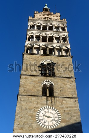 Pistoia (Tuscany, Italy): belfry of the medieval cathedral