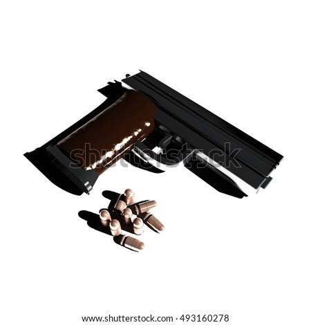 Pistol and bullets in dramatic light, white background, 3d rendering