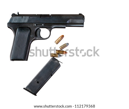 Pistol and bullets on a white background - stock photo