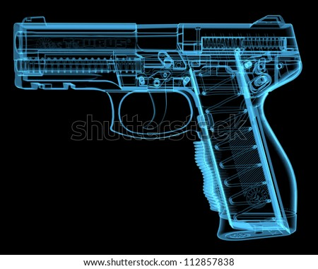 Pistol (3D xray blue transparent) - stock photo