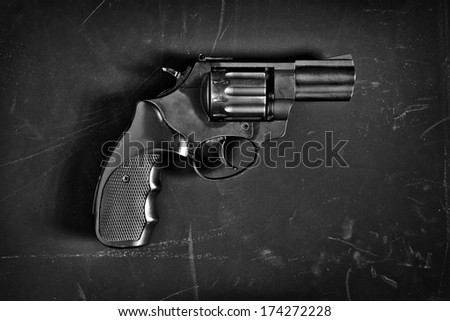 Pistol gun / studio photography of handgun on black background  - stock photo